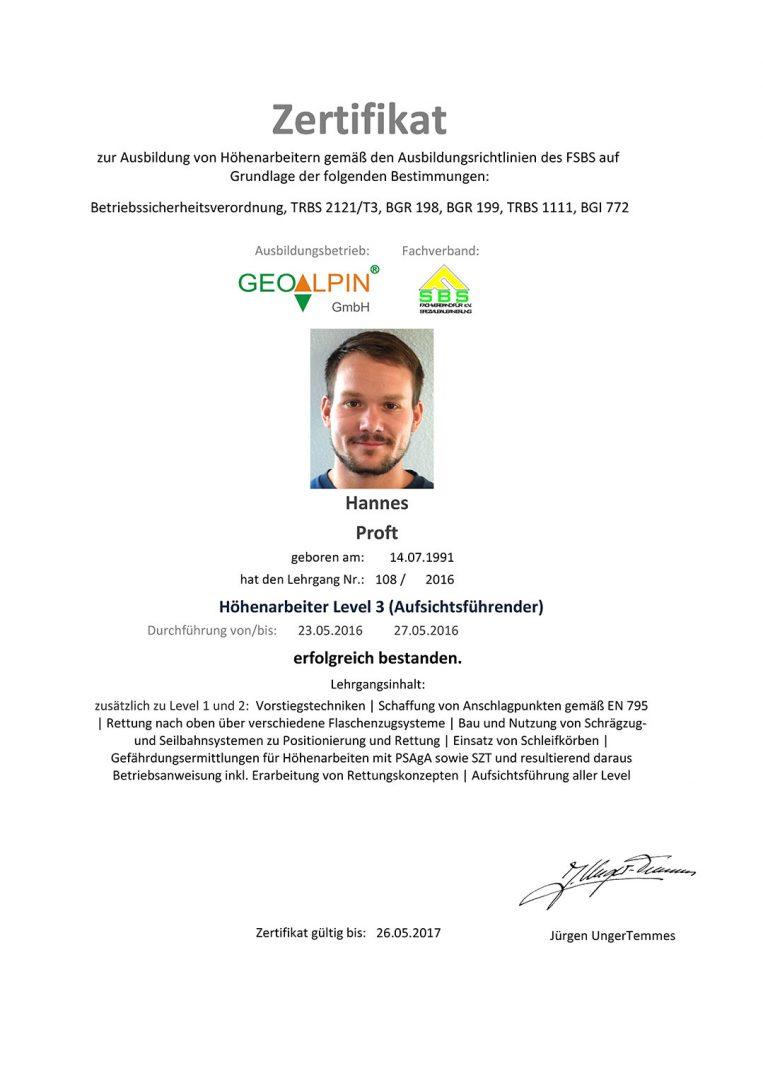 ProAlpin Zertifizierung Hoehenarbeiter Level 3