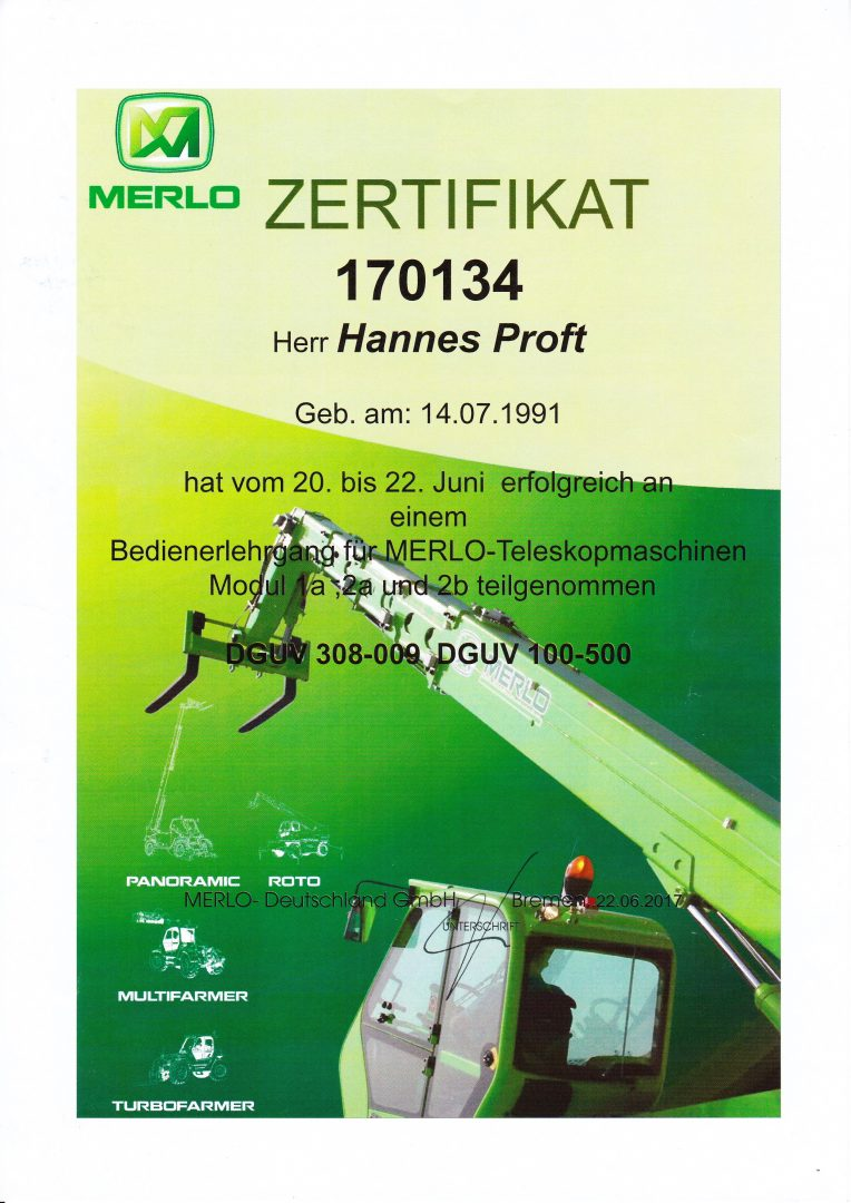 ProAlpin Zertifizierung Bedienerlehrgang MERLO Teleskopmaschinen