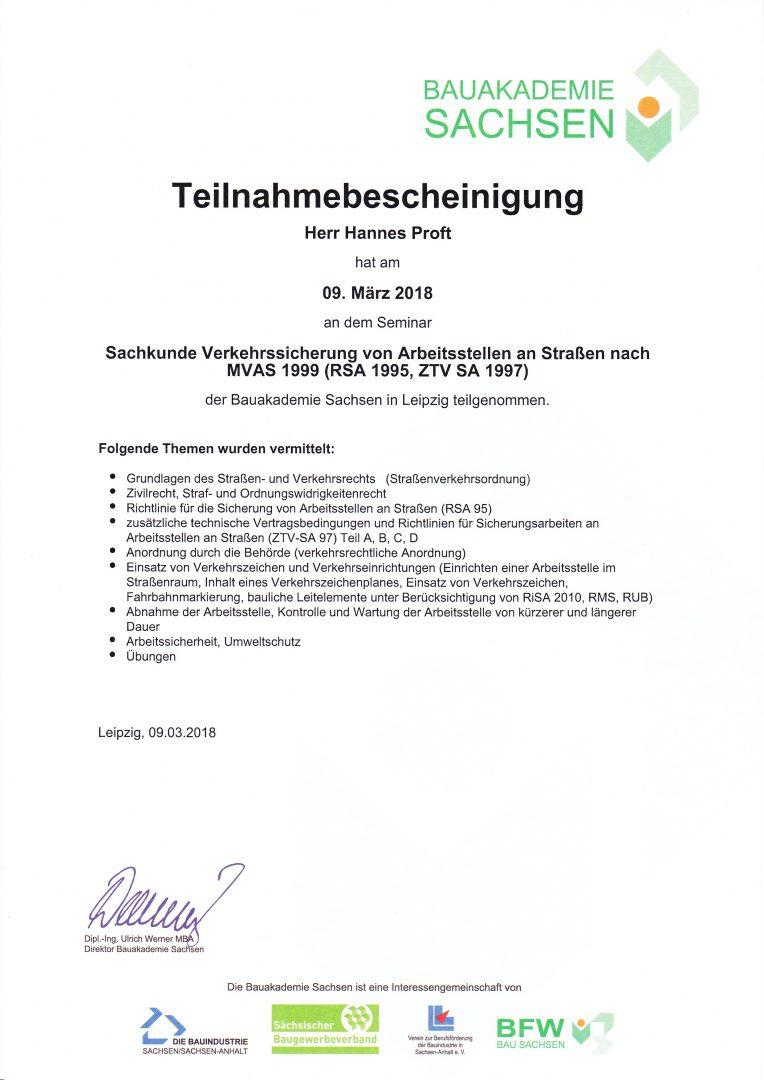 ProAlpin Zeritifakt für Verkehrssicherung von Arbeisstellen an Straßen